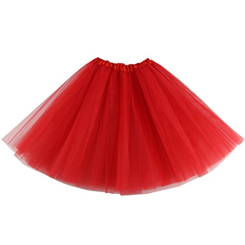 Lanzom Women's Classic Elastic 3-layered Tulle Tutu Skirt Ballet Party Costume (Red)