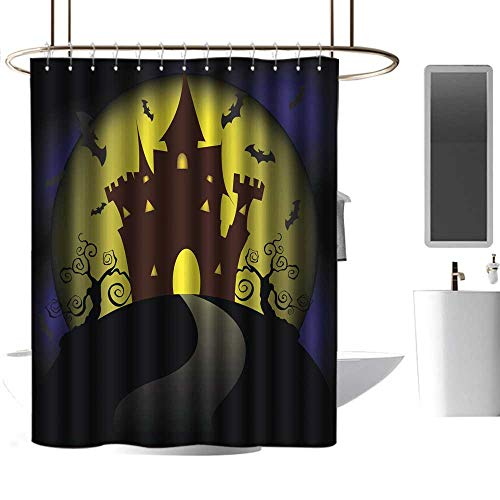 Kids Bathroom Shower Curtain Halloween House Party Full Moon eco Friendly W48 x -
