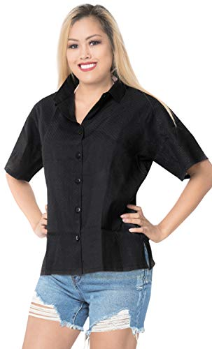 LA LEELA Womens Plus Size Casual Short Sleeve Aloha Hawaiian Shirt Embroidered