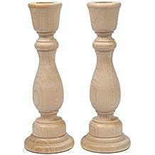 Unfinished Candlesticks 6-3/4 Inch, Unfinished Wooden Candlestick Holder - Bag of 2