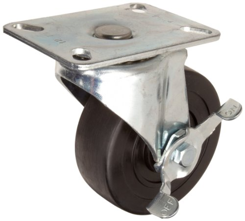 E.R. Wagner Plate Caster, Swivel with Pinch Brake, Hard Rubber Wheel, Delrin Bearing, 255 lbs Capacity, 4'' Wheel Dia, 1-1/4'' Wheel Width, 4-11/16'' Mount Height, 3-3/4'' Plate Length, 2-3/4'' Plate Width by ER Wagner