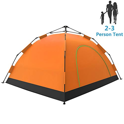LETHMIK Camping Tent, Automatic Portable Pop-Up Tent, 2-3person, 30 Seconds Easy Set up, Lightweight Tent for Camping Outdoor Hiking with Travel Climbing with Carry Bag, Orange