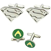 DC Comics 2 Pairs Superman Silver & Aquaman Superhero 2018 Movie Mens Boys Cufflinks