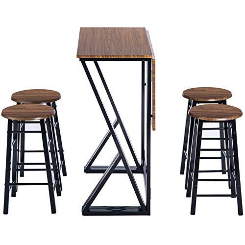 Bar Table Set, Counter Height Table Set, Drop Leaf Dining Table Set with 4 Chairs, for Bar, Breakfast Nook, Kitchen Room, Dining Room, and Living Room. (Walnut)