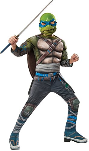 Rubie's Costume Kids Teenage Mutant Ninja Turtles 2 Deluxe Leonardo Costume, Medium -