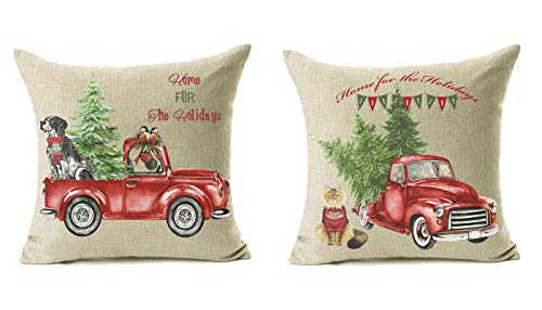 Lanpn 16x16 Christmas Throw Pillow Covers Set of 2, Decorative Farmhouse Outdoor Merry Christmas Xmas Cushion Pillow Shams Cover Cases with Red Truck and Tree Dog Cat for Couch Sofa