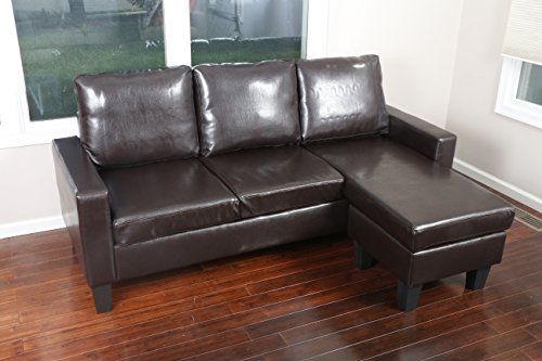 Large Brown Leather Modern Contemporary Upholstered Quality Sectional