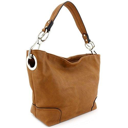 Camel Hobo (Women's Hobo Shoulder Bag with Big Snap Hook Hardware Camel)