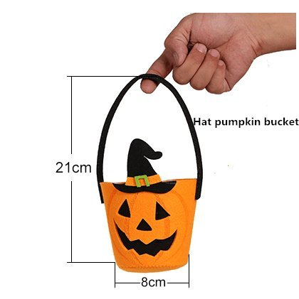 Alicia Haines Halloween Pumpkin Trick or Treat Bag Kids Candy Bag Tote Handbag for Halloween Party Costumes Decor (Hat pumpkin bucket) (Halloween Treat Bags Walmart)