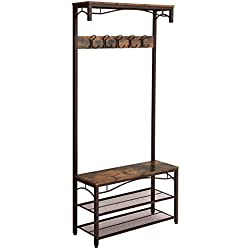 SONGMICS Vintage Coat Rack, 3-in-1 Hall Tree, Entryway Shoe Bench and Coat Stand, Storage Shelves Accent Furniture with Metal Frame Large Size UHSR45AX