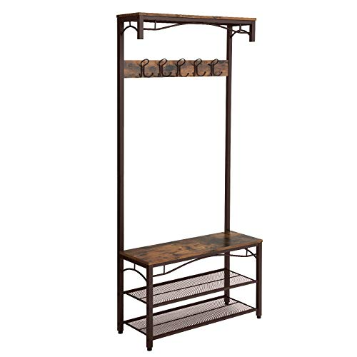 SONGMICS Vintage Coat Rack, 3-in-1 Hall Tree, Entryway Shoe Bench and Coat Stand, Storage Shelves Accent Furniture with Metal Frame Large Size UHSR45AX by SONGMICS