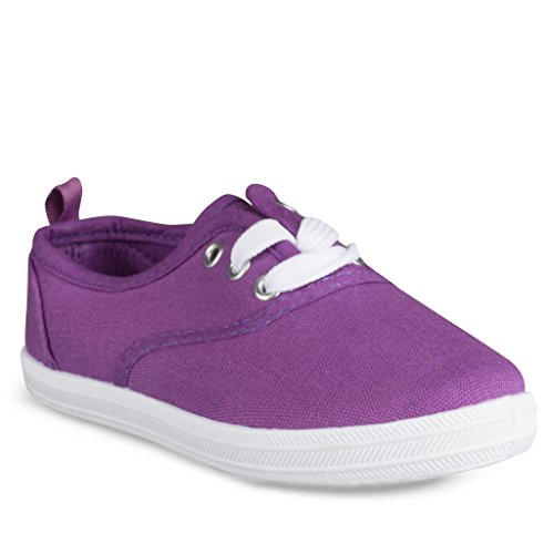 Girls Canvas Sneakers: Lace-Up Tennis Shoes Toddler Size 8