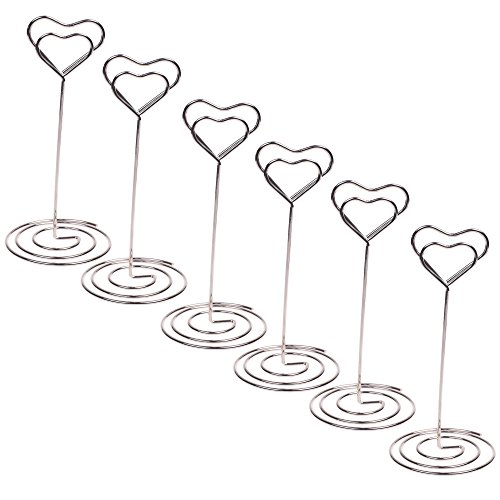BCP 6pcs Silver Color 5 inches Heart-shaped Wire Memo Number Photo Clips Holder Stands for Office, Home, Weddings Party Gathering