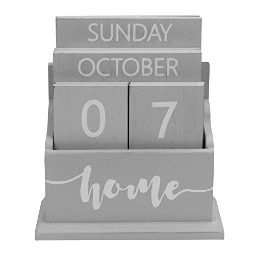 (Wooden Vintage Perpetual Calendar | Stylish Eternal Desk Calendar | Lift 'n' Flip Block Design | Perfect for Home or Office | M&W (Grey))