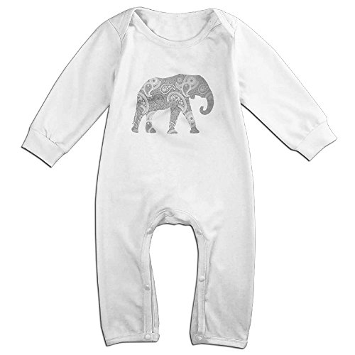Brad Paisley Costume - Raymond Paisley Elephant Long Sleeve Romper Bodysuit Outfits White 12 Months