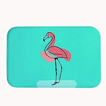 Rioengnakg Cute Cartoon Pink Flamingo In Blau Hintergrund Badteppich