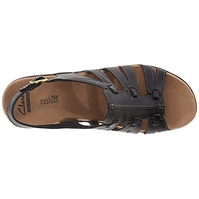 Clarks Women's Lexi Marigold Q Black Leather Sandal 12 B m