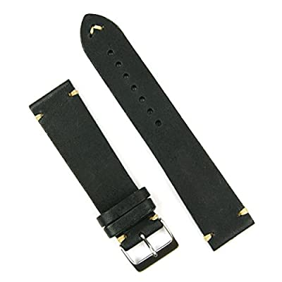 B & R Bands 18mm Black Classic Vintage Leather Watch Band Strap - Medium Length by B & R Bands