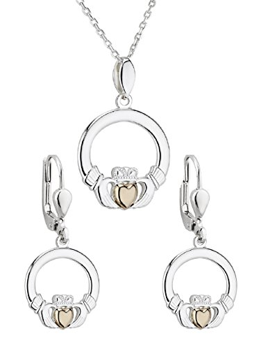 "Claddagh Set - Claddagh Necklace & Earrings Set 20"" Chain Silver & 10K Irish Made"