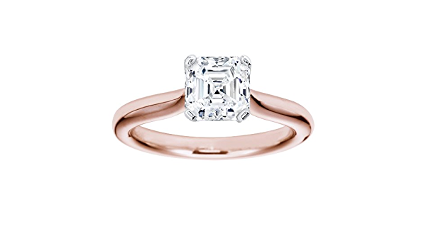 Details about  /2.5 Asscher Designer Statement Bridal Classic Red Stone Ring 14k Rose Gold