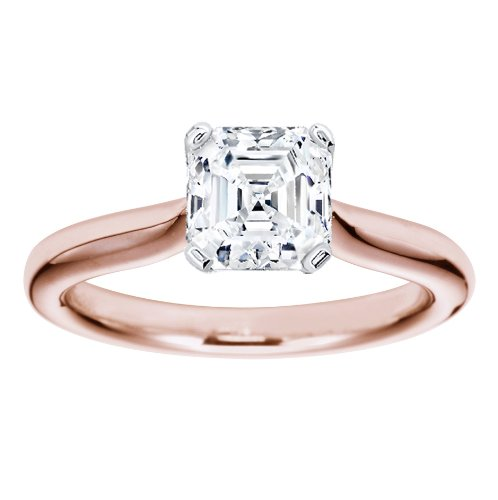 14K Rose Gold Solitaire Diamond Engagement Ring Asscher Cut ( G Color VS2 Clarity 0.41 ctw) - Size 4.5