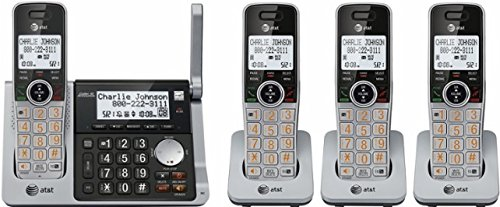 AT&T CL83484 DECT 6.0 Cordless Phone with Answering System, Dual Caller ID/Call Waiting, 4 Cordless Handsets, (Att Cordless Telephone)