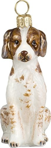 (Brittany Spaniel Dog Polish Glass Christmas Ornament Decoration Made in Poland)