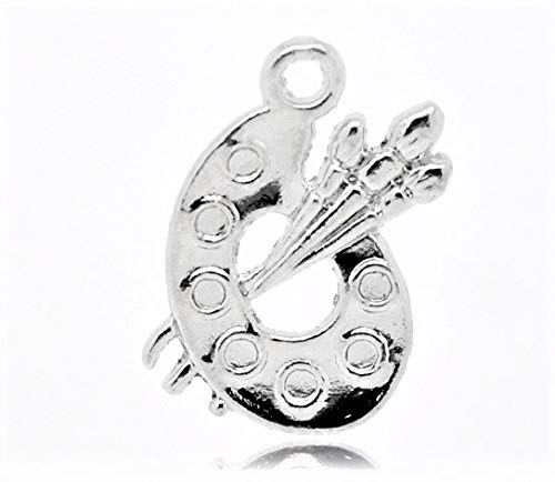 - 10 x Tibetan Silver Paint Palette & Brush Art 3D 17mm Charms Pendants Beads