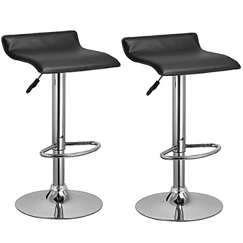 Costway Set Of 2 Swivel Bar Stools Adjustable PU Leather Backless Dining Chair (Black) (And Dining Bar)