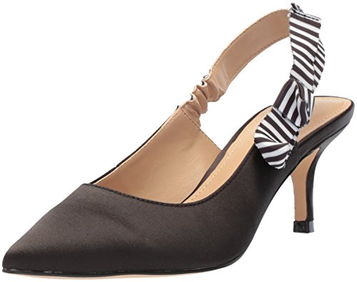 na Kitten Heel Slingback Pump, Black Satin, 8 B US ()