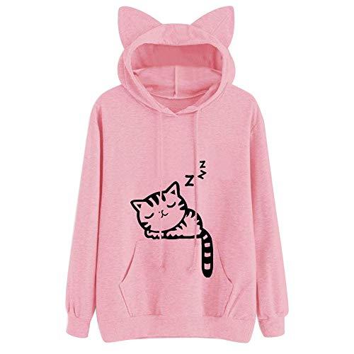 Clearance Women Tops LuluZanm Hooded Pullover Tops Blouse Womens Cat Long Sleeve Hoodie Sweatshirt Tops ()