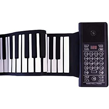 Electric Roll Up Piano Portable 61 Keys Electronic Keyboard Hand Roll para niños Niños Principiantes Batería o USB con Altavoz Instrumentos musicales