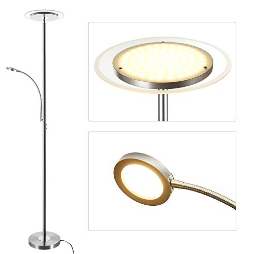Dewenwils Led Torchiere Floor Lamp Reading Light Glass Diffuser Dimmable