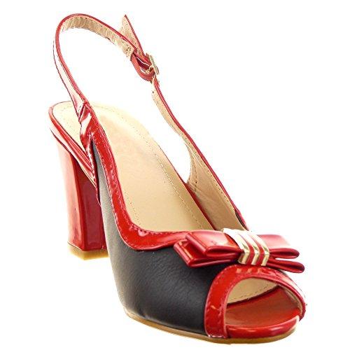 Sopily - Zapatillas de Moda Sandalias Tacón escarpín Abierto Caña baja mujer brillantes nodo Talón Tacón ancho alto 7.5 CM - Rojo