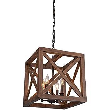 4 Bulbs Walnut Collingwood Chandelier Wood Pendant Lamp