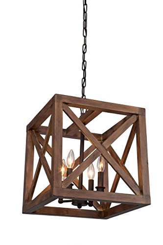 "4 Bulbs Walnut Collingwood Chandelier Wood Pendant Lamp Lighting Dia 15"""