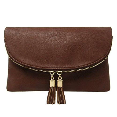 Women's Coffee Crossbody Envelop Clutch With Solene Tassels Accent Bag vwA8vd