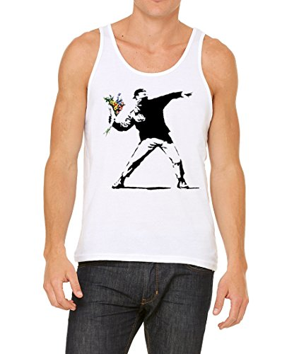 Banksy Rage Flower Thrower Graffiti Bella+Canvas Unisex Tank Top Shirt (White, - Tank Flower
