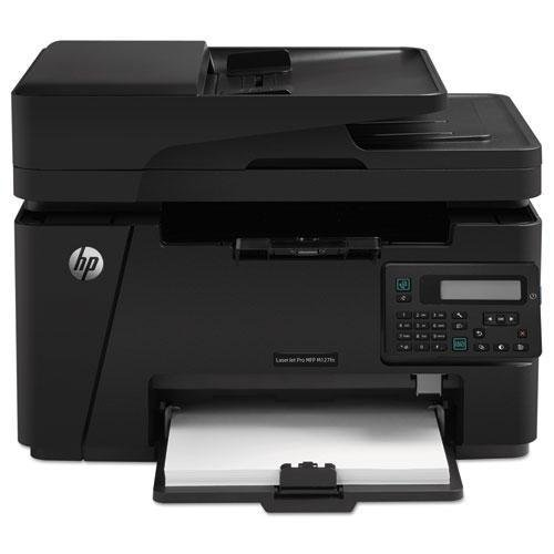 Text Display - HP LASERJET PRO MFP M127fn - Print speed up to 21 ppm black. Scan resolution up to 1200 x 1200 dpi hardware and up to 1200 x 1200 dpi optical. Copy resolution up to 600 x 600. 2 line LCD text display.