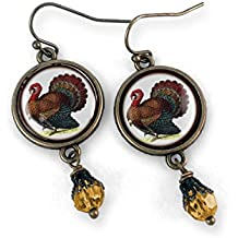 Thanksgiving Turkey Earrings with Amber Bead