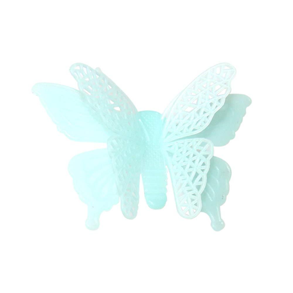 JiaMeng Decoración del hogar 6PC Luminous Butterflies Skin Wall Sticker Decorativo Resplandor en el Arte Oscuro