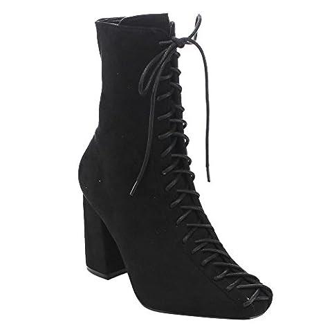 Cape Robbin Betisa-6 Women's Lace-Up Size Zipper Block Heel Ankle Booties,Black,8