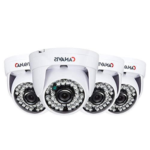 CANAVIS 4 Packs HD 720p 1280TVL Dome Indoor Security Camera AHD Camera, 36PCS LEDs, 65ft IR Night Vision Surveillance CCTV Camera