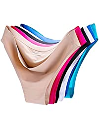 6 Pack Women's Invisible Seamless Bikini Underwear Half Back Coverage Panties