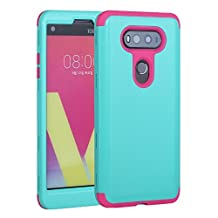 LG V20 Case, Asstar 3 in 1 Hard PC+ Soft TPU [Slim Fit] Impact Protection Heavy Shockproof Full-Body Protective Smooth Hard Cover Case For LG V20 (Teal rose)