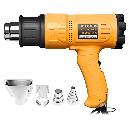 SEEKONE Heat Gun Heave Duty Hot Air Gun 1800W with 2-Temperature Settings 4 Nozzle Attachments 122℉~ 1202℉(50℃- 650℃)for Stripping Paint,Bending Pipes, Lighting - B&q Outdoor Lighting