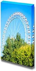 Beautiful Scenery Landscape White Ferris Wheel Against Blue Sky Wall Decor