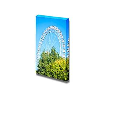 Canvas Prints Wall Art - Beautiful Scenery/Landscape White Ferris Wheel Against Blue Sky | Modern Wall Decor/Home Decoration Stretched Gallery Canvas Wrap Giclee Print & Ready to Hang - 18