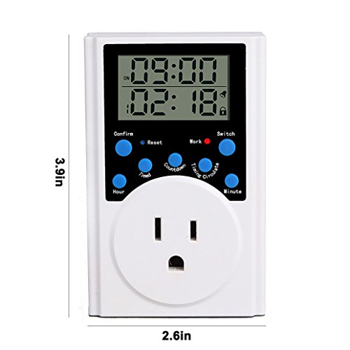 Finduat Timer Switch Outlet, 15A/1800W Infinite Loop Programmable Digital Timer Socket With Alarm, Countdown, Timing Cycle for Plants, Gardening, Lights, Water Pump