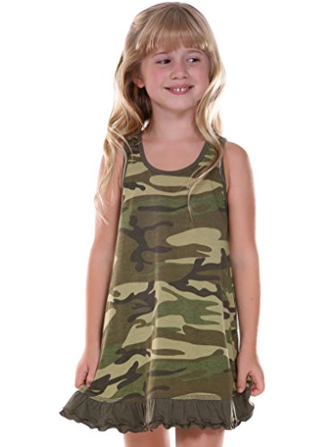 (Kavio! Little Girls 3-6X Camouflage A-Line Tank Dress Camo Army Green)